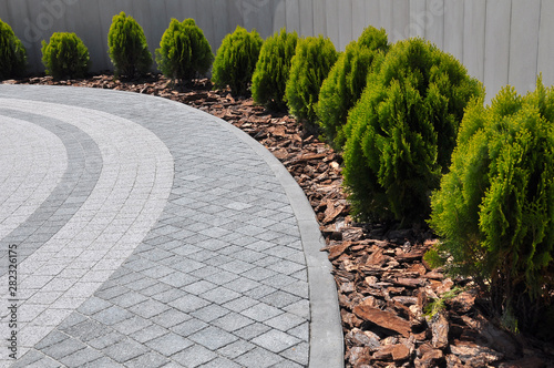 Design of landscaping in the garden, park, square, recreation area Fotobehang