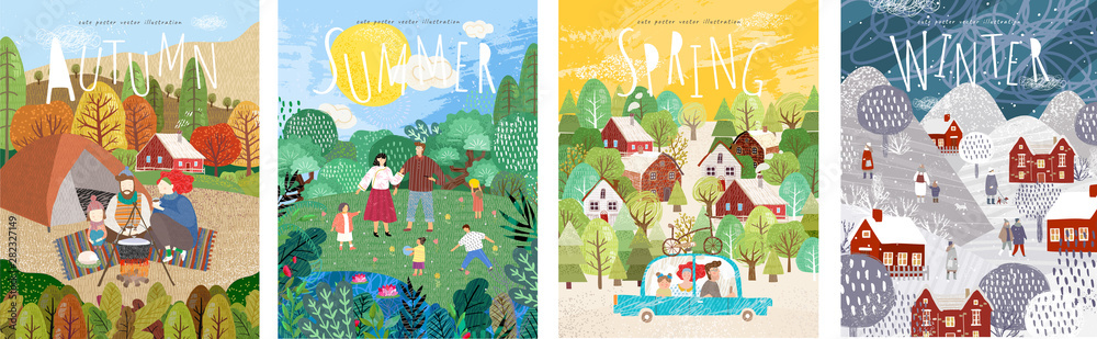 Fototapeta 4 seasons: Autumn, winter, spring, summer. Vector cute illustration of a family on nature in the camp, traveling by car, and people on the street for the New Year and Christmas