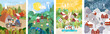 4 seasons: Autumn, winter, spring, summer. Vector cute illustration of a family on nature in the camp, traveling by car, and people on the street for the New Year and Christmas