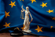 Leinwanddruck Bild - European union court of justice or ECJ, legal system in Europe and the legislature branch of government concept with a gavel, a statue of Themis the lady of justice and the EU flag