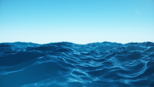Sea Wave Low Angle View. Ocean Water Background. View From Below, View Of A Clear Blue Sky With. Sea Or Ocean Wave Close-up View. Beautiful Blue Clean Water. 3D Rendering