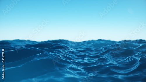Fototapeta Sea wave low angle view. Ocean water background. View from below, view of a clear blue sky with. Sea or ocean wave close-up view. Beautiful blue clean water. 3D rendering obraz