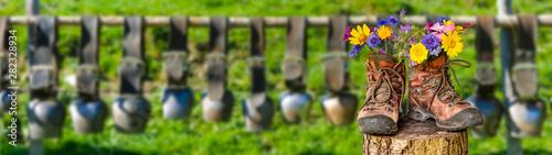 Montage in der Fensternische Grau Wanderschuhe mit Blumen in schöner bayerischer Landschaft