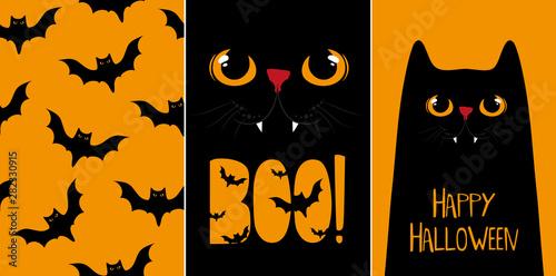 Fotografie, Obraz  Halloween cards set, vector illustrations with black cat.