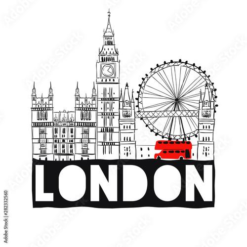 London City hand drawn skyline. Vector EPS10 Wallpaper Mural