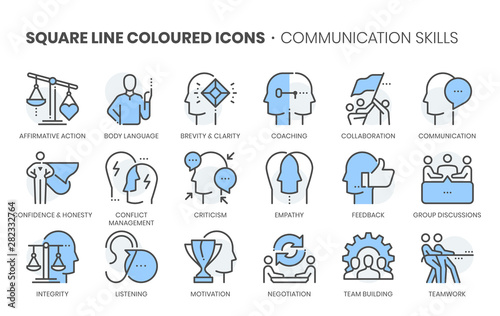 Fotografia Law dictionary related, square line color vector icon set for applications and website development