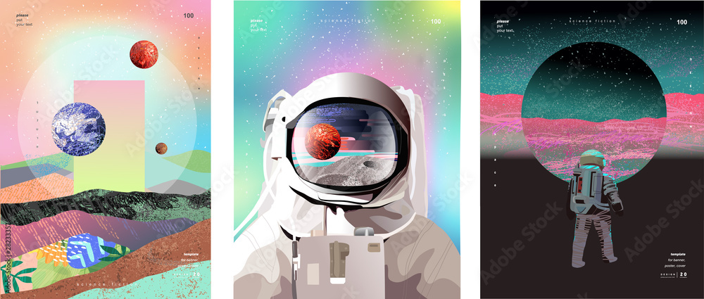 Fototapeta Vector illustration of space, cosmonaut and galaxy for poster, banner or background. Abstract drawings of the future, science fiction and astronomy