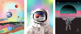 Fototapeta Kosmos - Vector illustration of space, cosmonaut and galaxy for poster, banner or background. Abstract drawings of the future, science fiction and astronomy