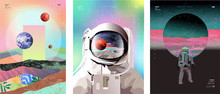 Vector Illustration Of Space, ...