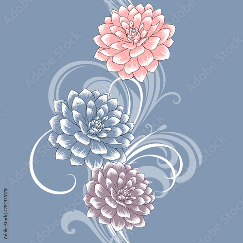 Seamless pattern with dahlia flowers Tapéta, Fotótapéta