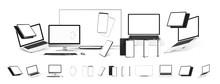 Mockups Gadgets Vector Set. 3D...
