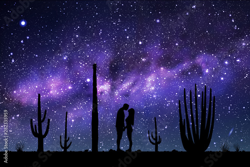 Montage in der Fensternische Violett Lovers between cactuses in park at night. Vector illustration with silhouette of loving couple. Landscape with cacti. Space dark background with starry sky and Milky Way