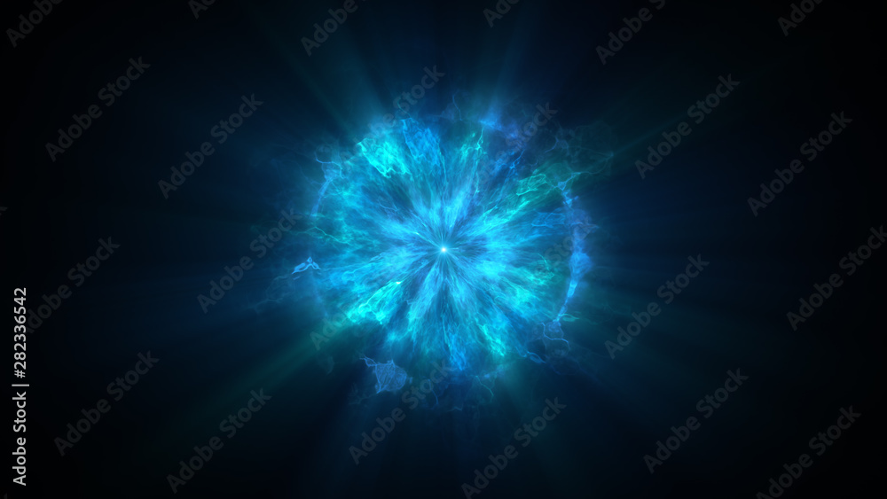 Fototapety, obrazy: Colorful shock wave consisting particles. VFX elements, Graphic Elements. Light beam, shine through the clouds, dust, nebulae of outer space. 3D Rendering