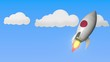Rocket with flag of Japan flies in the sky. Japanese success or space program related loopable motion background