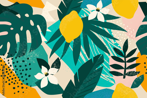 Collage contemporary floral seamless pattern. Modern exotic jungle fruits and plants illustration vector. - 282338196