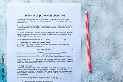 Living Will Advance Directive Wallpaper Mural