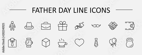Fotografía Father's Day Set Line Vector Icons