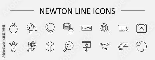 Obraz na plátně Newton's Day Set Line Vector Icon