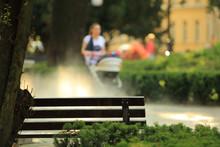 Ławka W Parku, Kobieta Z Wuzk...