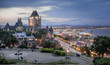 The Chateau Frontenac in Quebec city and Terrace Dufferin in sunset.