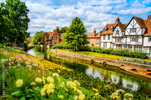 Canterbury, Kent, UK: Landscape of the Great Stour river running through old timbered houses near Westgate Gardens.