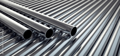Stainless steel tubes. Canvas Print