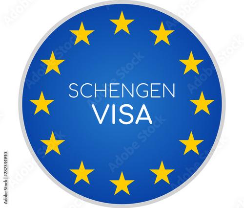 Schengen visa creative abstract symbol icon 3d-illustration Fototapet