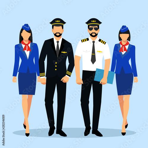 Photo Illustration of stewardess dressed in blue uniform