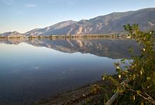 Osoyoos Lake Morning Light Reflection BC. A Quiet Morning On Osoyoos Lake, British Columbia, Canada.