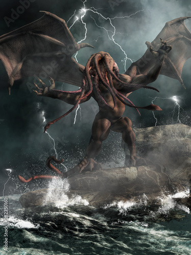 Cthulhu, the great old one of H Canvas Print
