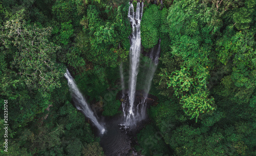 Poster Forest river Aerial view of famous Sekumpul waterfalls in Bali, Indonesia. Tropical jungle rainforest