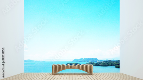 terrace in hotel or condominium on island view and sea view - living area on balcony with sea view - artwork for holiday or vacation snd summer artwork - 3D Rendering