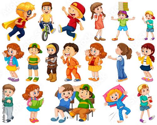 Fotobehang Kids Kids in large group acting our varoous roles