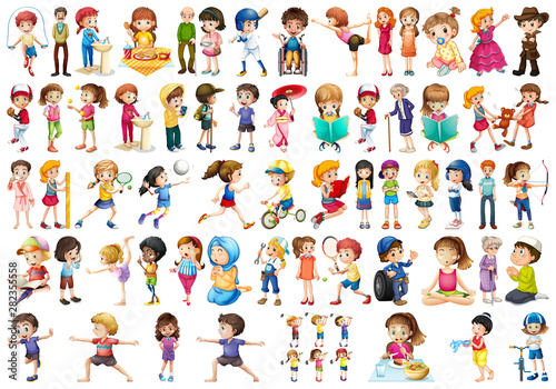 Canvas Prints Kids Set of different people