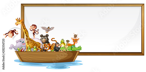 Photo Stands Kids Border template design with cute animals