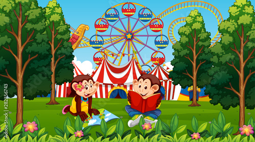 Photo Stands Kids Children monkeys amusement park scene