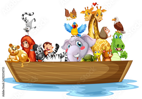 Photo Stands Kids Cute animals on boat on white background