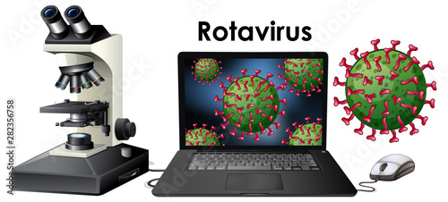 Close up isolated object of virus Rotavirus