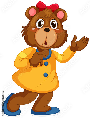 Stickers pour portes Jeunes enfants Cute bear in human-like pose isolated