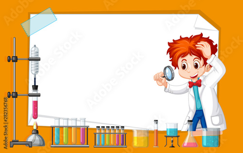 Stickers pour portes Jeunes enfants Frame template design with kid in science lab