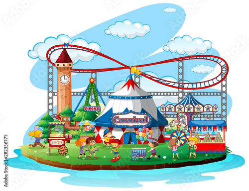 Photo Stands Kids Fun fair theme park on isolated background