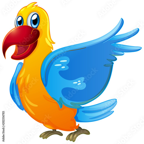 Photo Stands Kids Parrot with yellow and blue feather on white background
