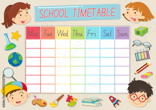 Photo Stands Kids School timetable template with pupils and school supplies