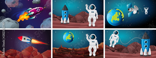 Photo Stands Kids Set of space scenes