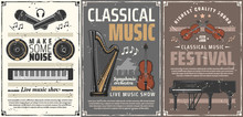 Piano, Violin, Harp Music Instruments, Microphones