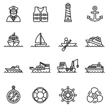 Boat And Ship Icon Set With Wh...