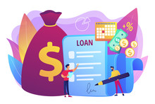 Bank Credit. Finance Management. Loan Agreement Signing. Mortgage Money Credit. Loan Disbursement, Quick Loan Service, Easy Credit Program Concept. Bright Vibrant Violet Vector Isolated Illustration