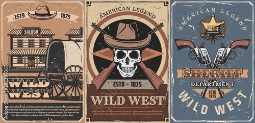 Fototapeta Wild West cowboy skull, sheriff guns, star, saloon obraz