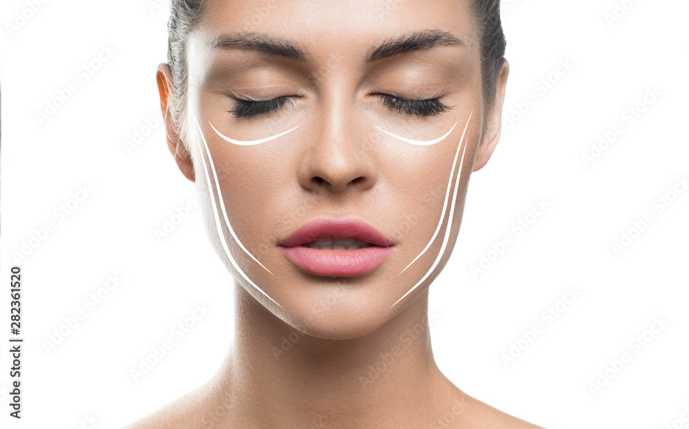 Fototapety, obrazy: Face lift treatment anti aging skincare woman concept. woman face with lifting lines on white background.