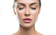 canvas print picture - Face lift treatment anti aging skincare woman concept. woman face with lifting lines on white background.